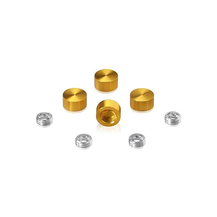 Set of 4 Screw Cover, Diameter: 1/2'', Aluminum Gold Anodized Finish