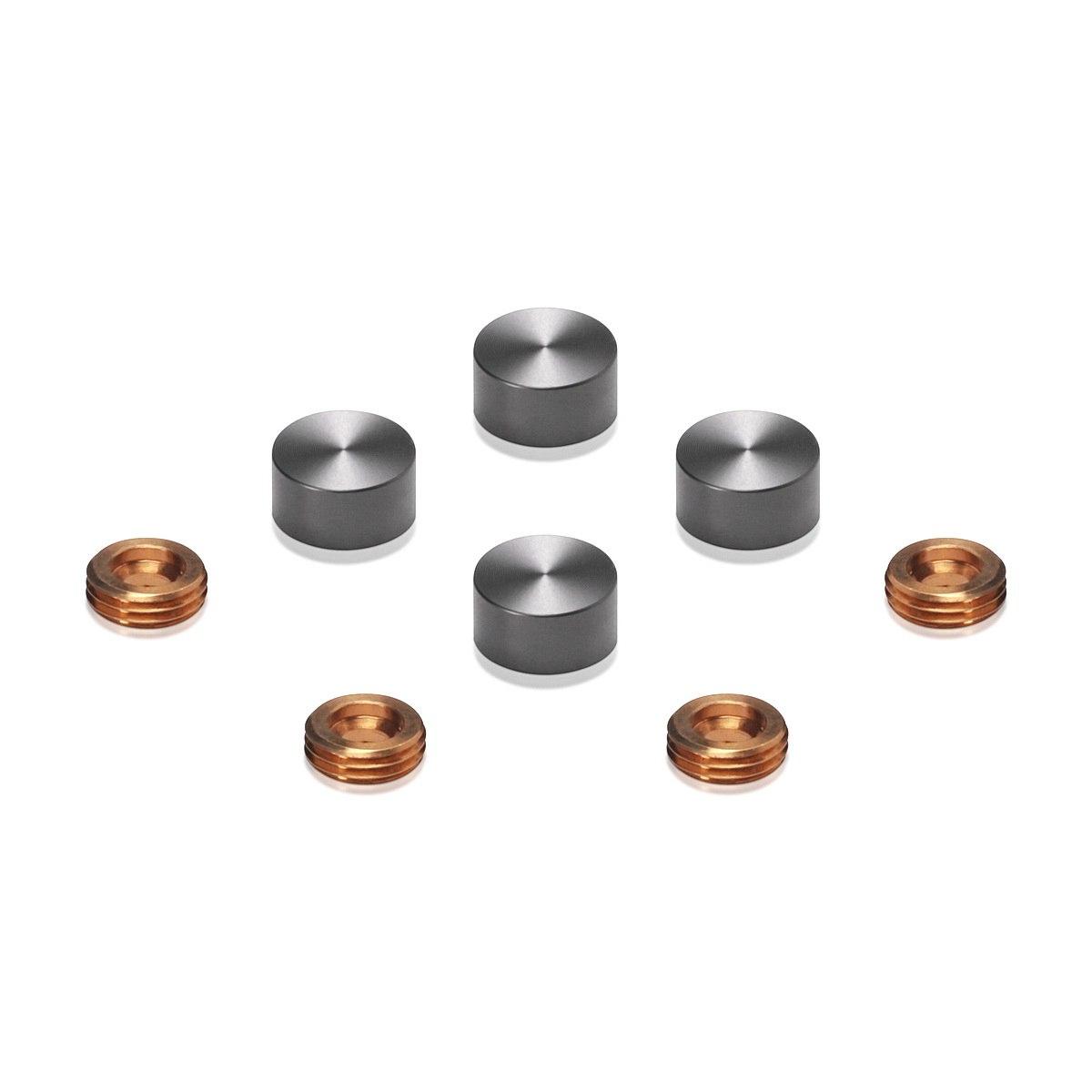 Set of 4 Screw Cover, Diameter: 1/2'', Aluminum Titanium Finish