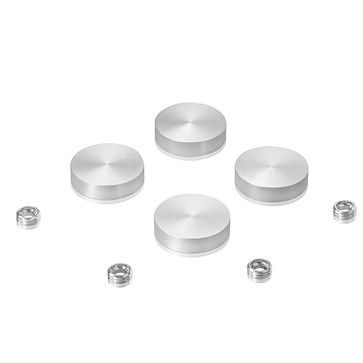 Set of 4 Screw Cover, Diameter: 1'' (25mm), Aluminum Clear Anodized Finish