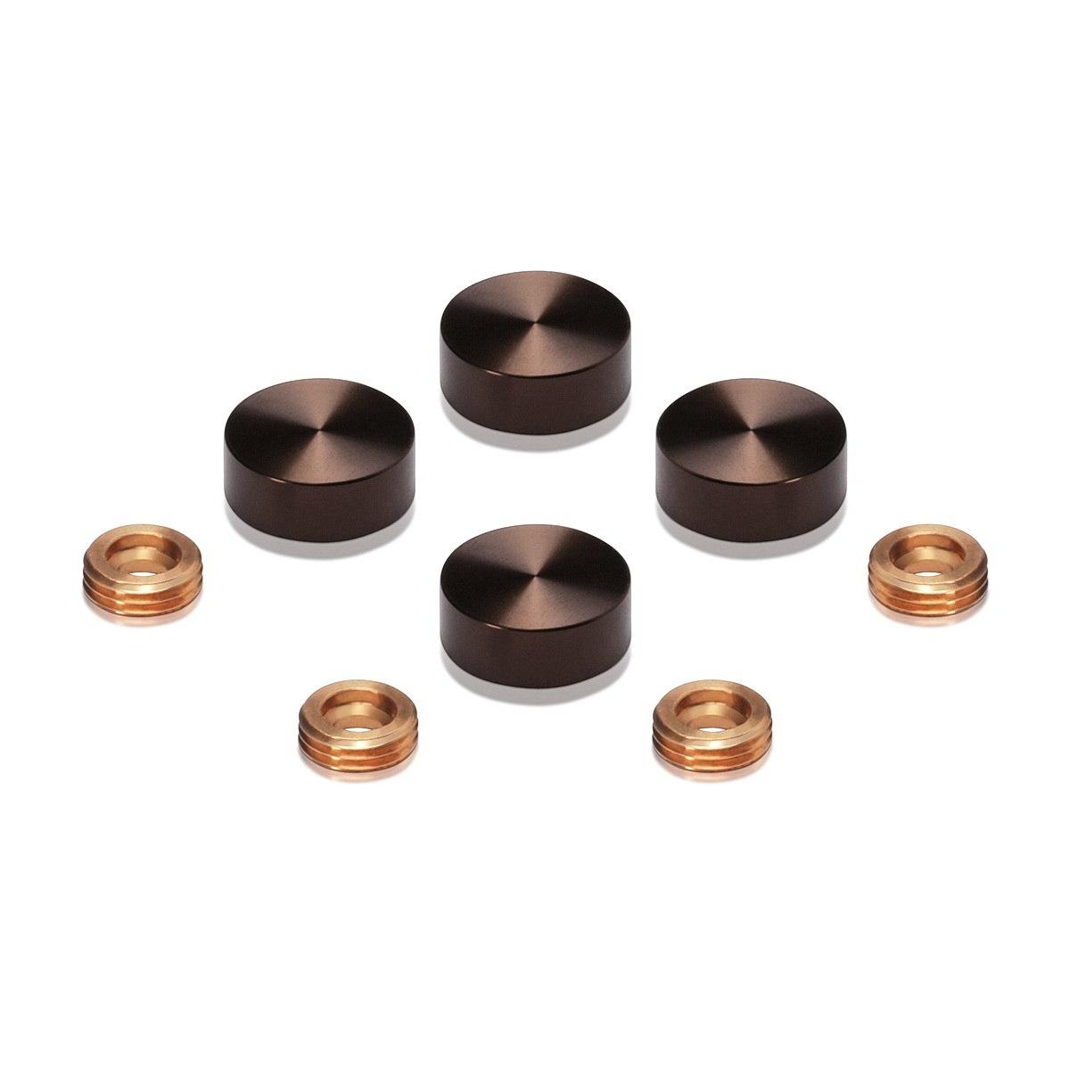 Set of 4 Screw Cover, Diameter: 5/8'', Aluminum Bronze Anodized Finish