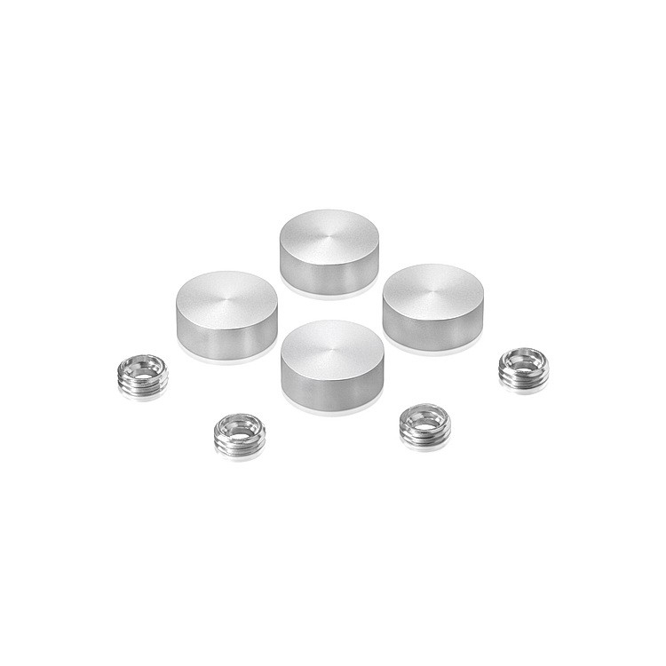 Set of 4 Screw Cover, Diameter: 5/8'', Aluminum Clear Anodized Finish