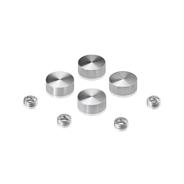 Set of 4 Screw Cover, Diameter: 5/8'', Aluminum Clear Shiny Anodized Finish