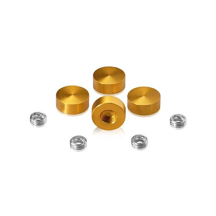 Set of 4 Screw Cover, Diameter: 5/8'', Aluminum Gold Anodized Finish