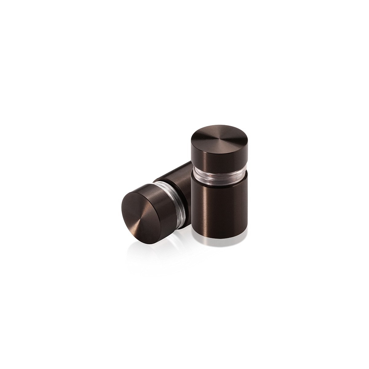 1/2'' Diameter X 1/2'' Barrel Length, Aluminum Flat Head Standoffs, Bronze Anodized Finish Easy Fasten Standoff (For Inside / Outside use) Tamper Proof Standoff