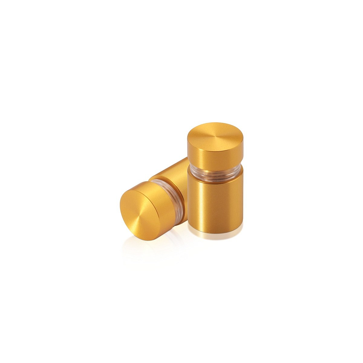 1/2'' Diameter X 1/2'' Barrel Length, Aluminum Flat Head Standoffs, Gold Anodized Finish Easy Fasten Standoff (For Inside / Outside use) Tamper Proof Standoff