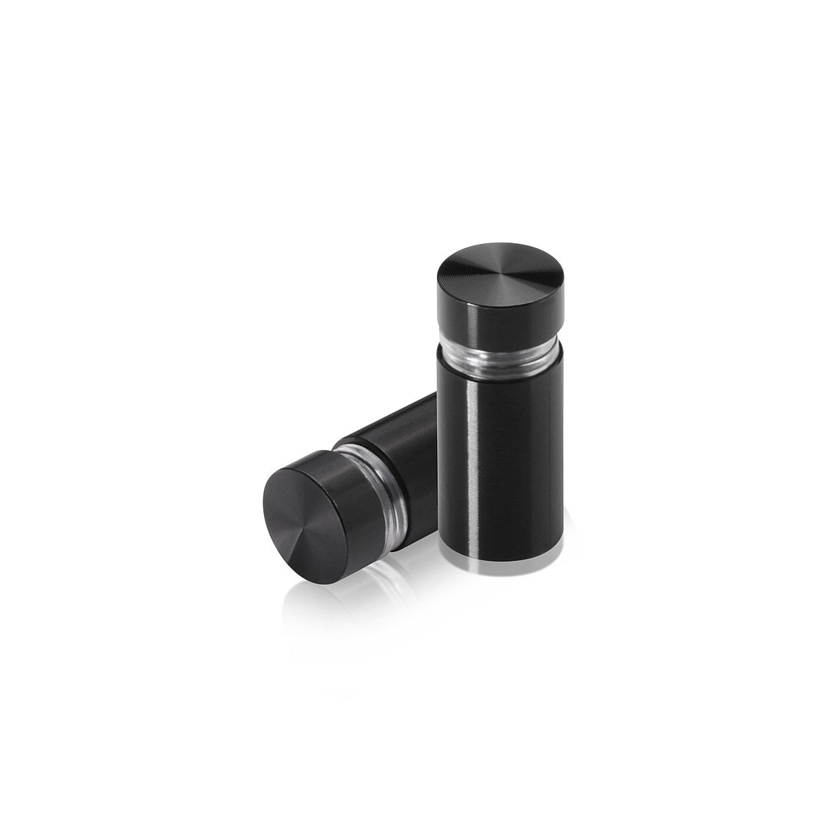 Tamper Proof Aluminum Flat Head Standoffs, Diameter: 1/2'', Standoff: 3/4'', Black Anodized Finish