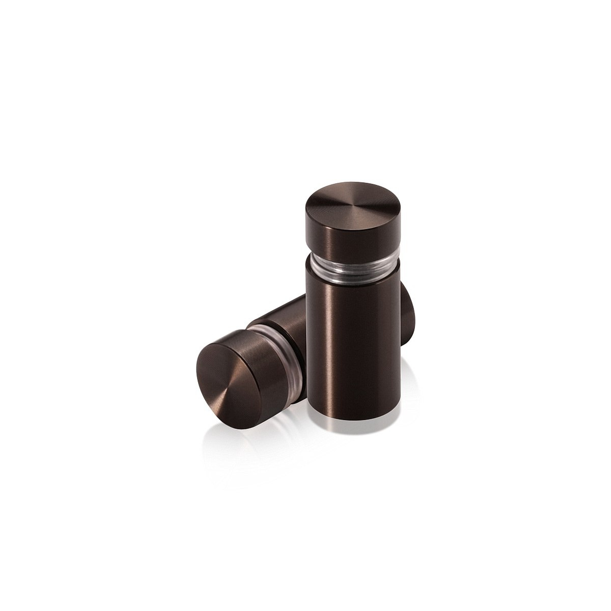 1/2'' Diameter X 3/4'' Barrel Length, Aluminum Flat Head Standoffs, Bronze Anodized Finish Easy Fasten Standoff (For Inside / Outside use) Tamper Proof Standoff