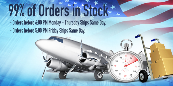 99 percent of order in stock and ship same day